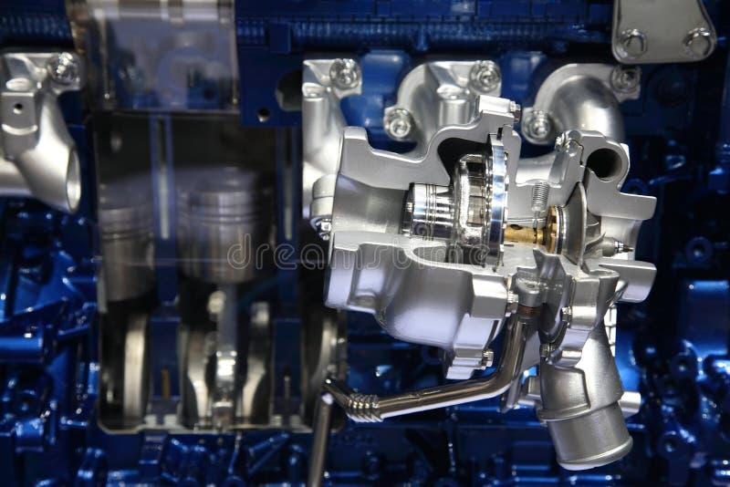 Motor de prata e azul do carro moderno imagens de stock