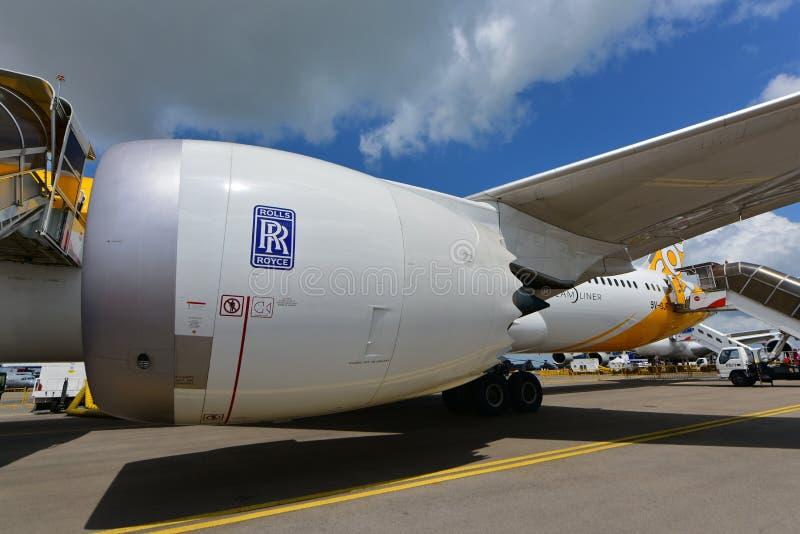 Motor 1000 de Scoot Boeing 787 Dreamliner Rolls Royce Trent na exposição em Singapura Airshow foto de stock royalty free