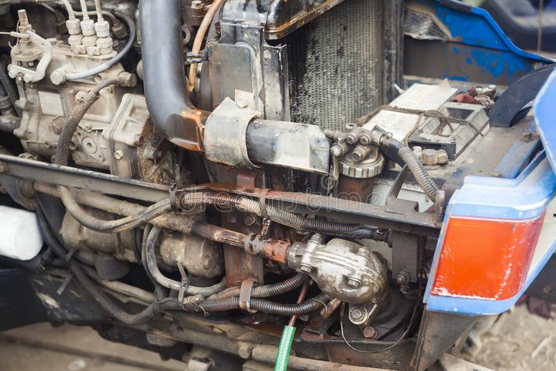 Motor de trator com escape imagem de stock