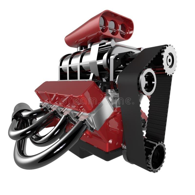 Motor de V8 del coche de carreras stock de ilustración