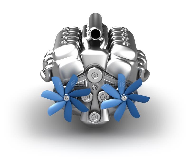 Motor de V8 sobre o branco. Meus próprios projeto ilustração do vetor