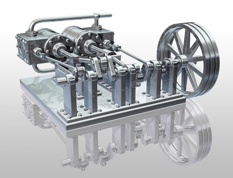 Motor de vapor gêmeo do cilindro ilustração royalty free