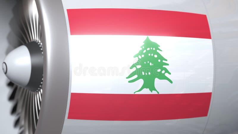 Motor del aeroplano con la bandera de Líbano Representación conceptual 3D del transporte aéreo libanés stock de ilustración