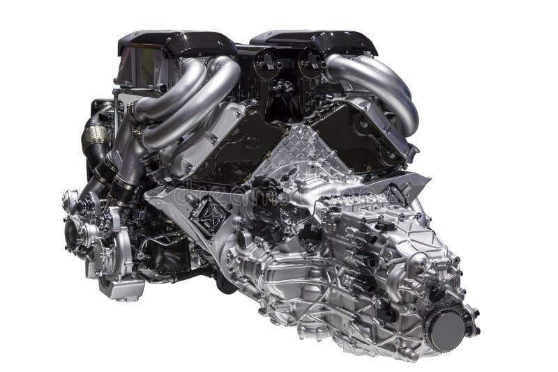 Motor del coche aislado sobre blanco fotografía de archivo libre de regalías