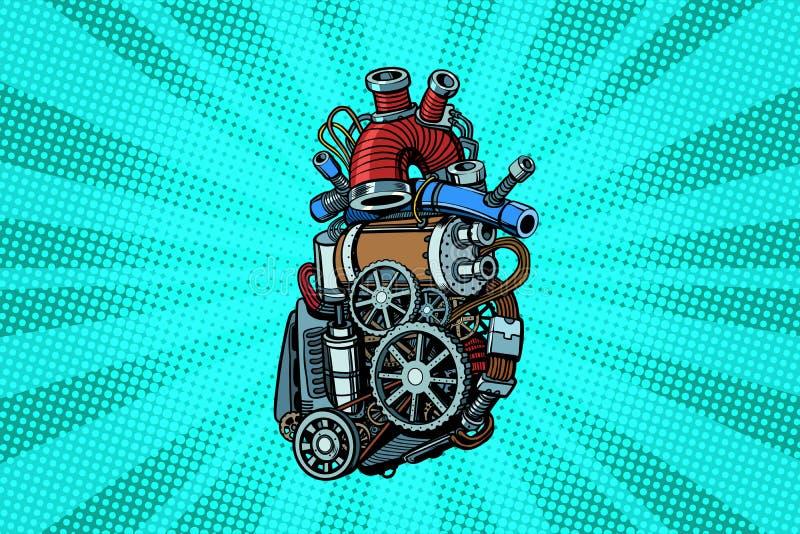 Motor del corazón de Steampunk ilustración del vector