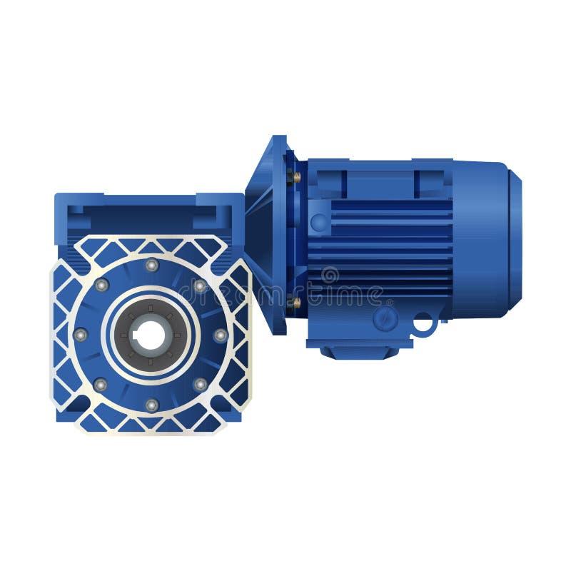 Motor del engranaje de gusano con el motor eléctrico Ilustración del vector en el fondo blanco 3d stock de ilustración