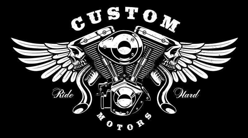 Motor del monstruo con diseño de la camiseta de las alas en fondo oscuro stock de ilustración