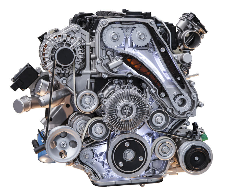 Motor diesel do caminhão do turbocompressor moderno fotografia de stock