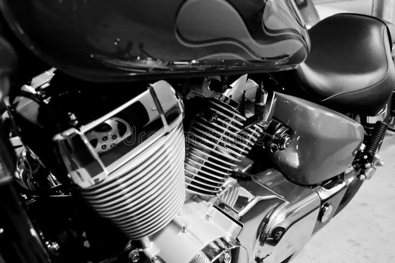 Motor do cromo da motocicleta fotografia de stock