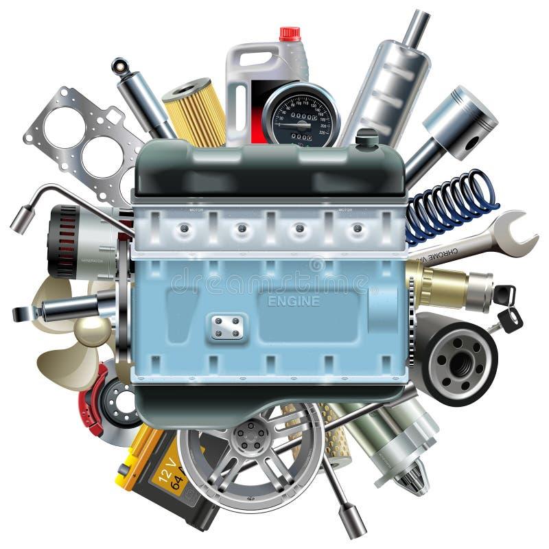 Motor do motor do vetor com sobressalentes do carro ilustração do vetor