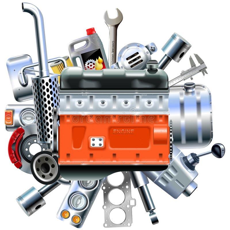 Motor do vetor com sobressalentes do caminhão ilustração stock