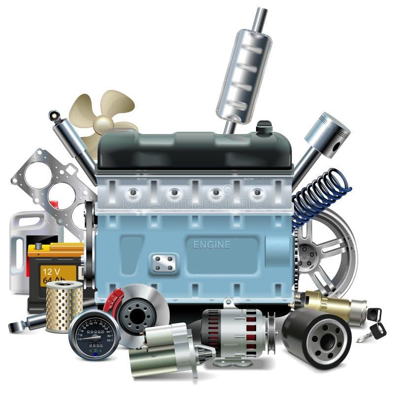 Motor do vetor com sobressalentes do carro ilustração do vetor