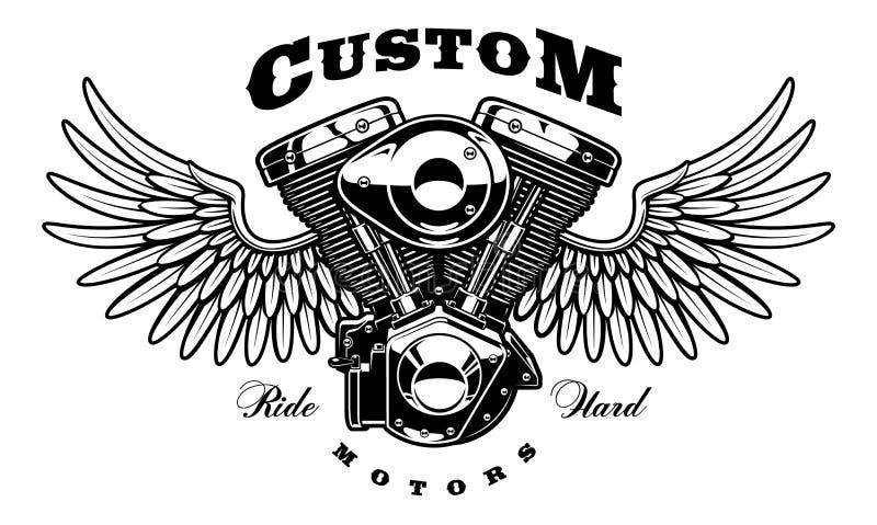 Motor do vintage da motocicleta com asas ilustração do vetor