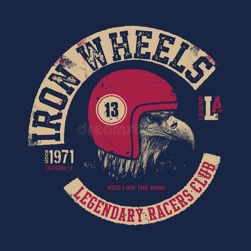 Eagle Biker T-shirt Design Monochrome Version Stock