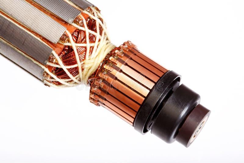 Motor elétrico, close-up do rotor, fundo branco isolado imagens de stock