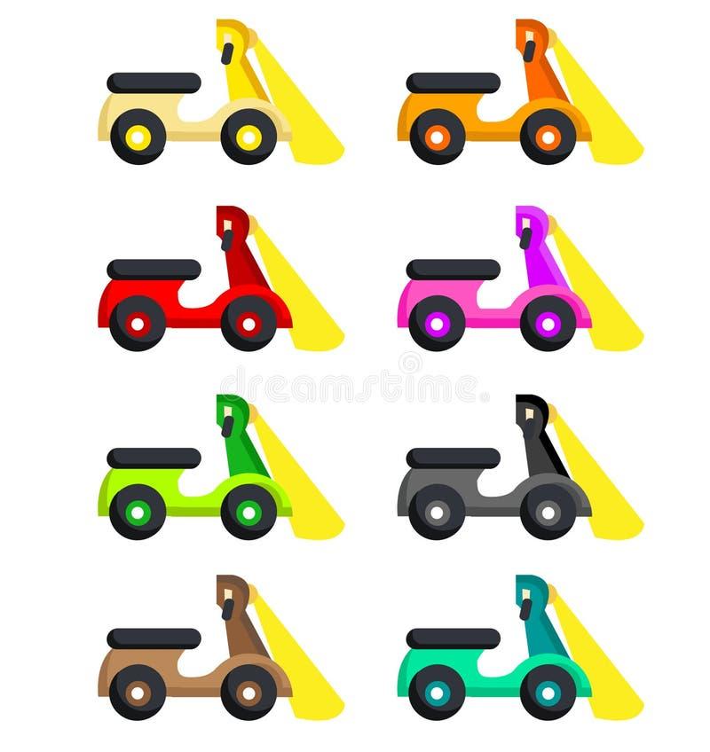 Motor em oito cores diferentes e em uma lâmpada ilustração stock