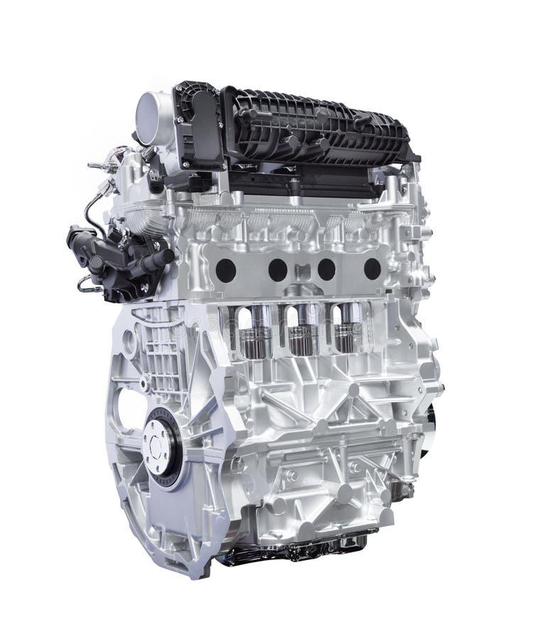 Motor för hybrid- bil som isoleras på vit med den snabba banan arkivfoto