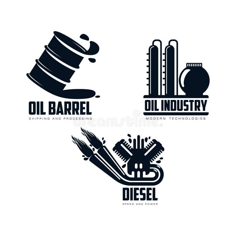 Motor för vektorsymbolsbensin, oljeraffinaderi, trumma vektor illustrationer