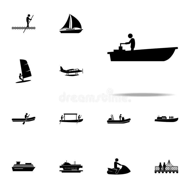 motor fartygsymbol universell uppsättning för vattentrans.symboler för rengöringsduk och mobil stock illustrationer