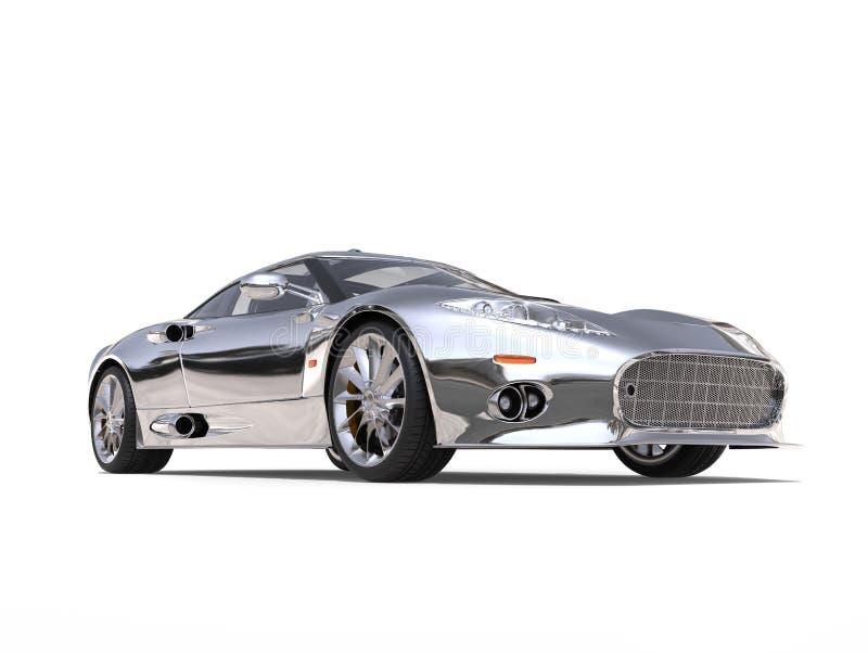 Motor- Froschperspektive des glänzenden silbernen ehrfürchtigen Supersports vektor abbildung