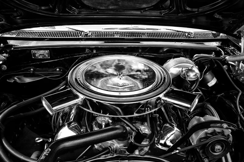 Motor full-size car Chevrolet Impala SS Convertible. BERLIN - MAY 11: Motor full-size car Chevrolet Impala SS Convertible close-up (black and white), 26 royalty free stock image