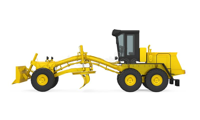 Motor Grader Isolated. On white background. 3D render royalty free illustration
