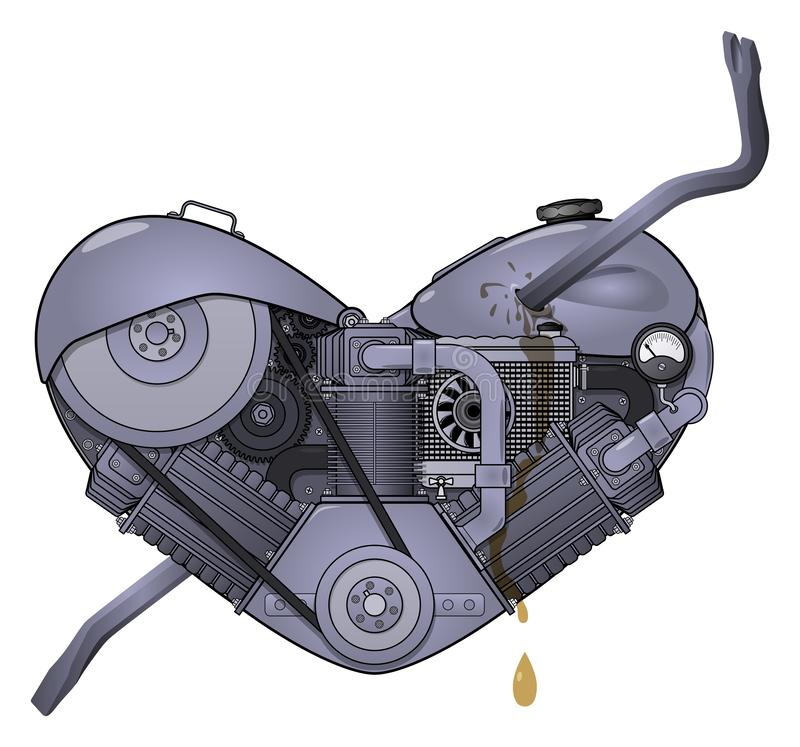 Motor heart pierced with a crowbar in the style of steampunk. Vector. Motor heart pierced with a drill like an Cupid`s arrow in the style of steampunk. Isolated royalty free illustration