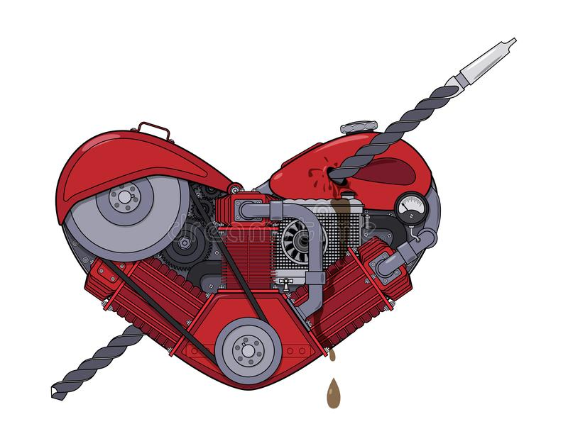 Motor heart pierced with a drill like an arrow in the style of steampunk. Vector stock illustration