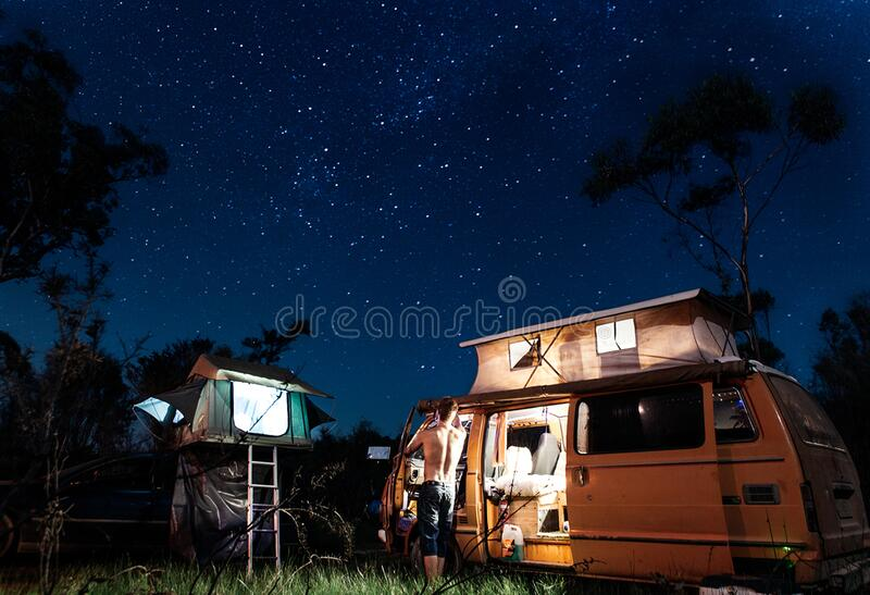 Motor home in camping royalty free stock photos