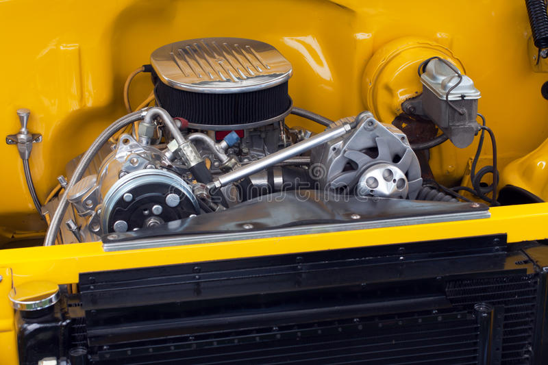 Motor in a hot rod muscle car stock photo