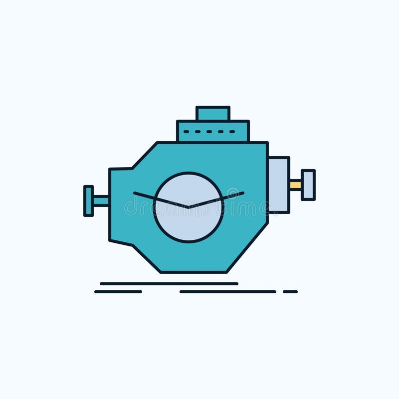 Motor, industria, máquina, motor, icono plano del funcionamiento muestra y s?mbolos verdes y amarillos para la p?gina web y el ap ilustración del vector