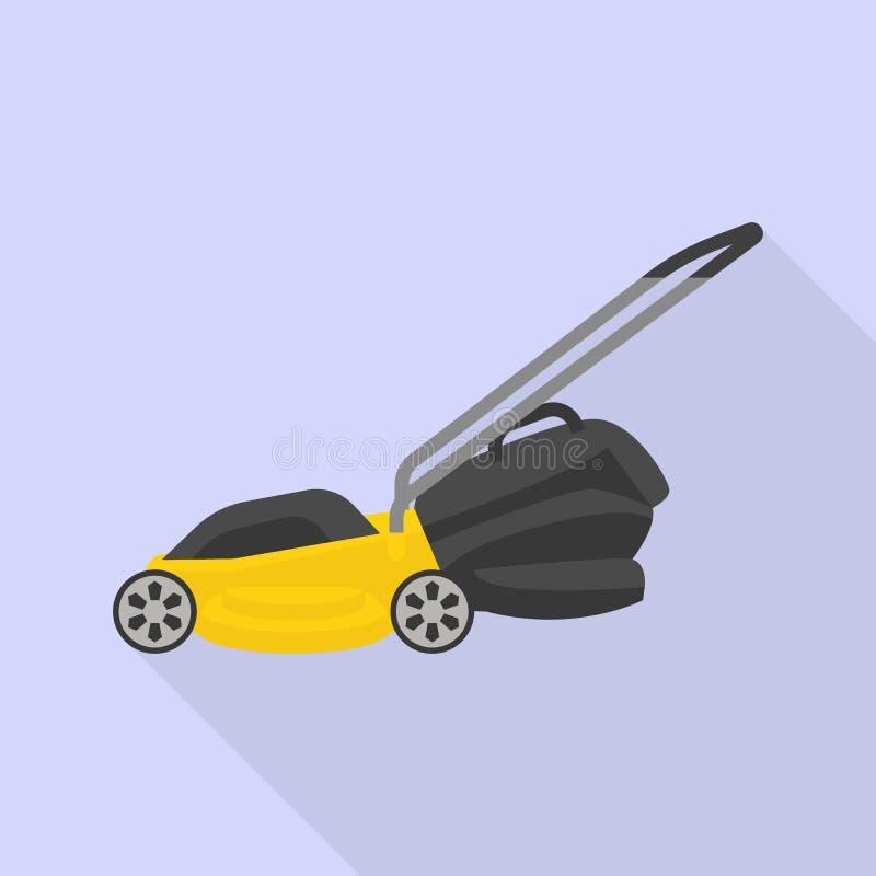 Motor lawn mower icon, flat style royalty free illustration