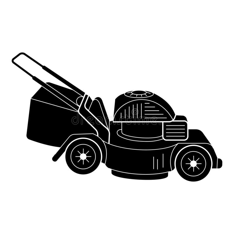 Motor lawn mower icon, simple style. Motor lawn mower icon. Simple illustration of motor lawn mower vector icon for web design isolated on white background vector illustration