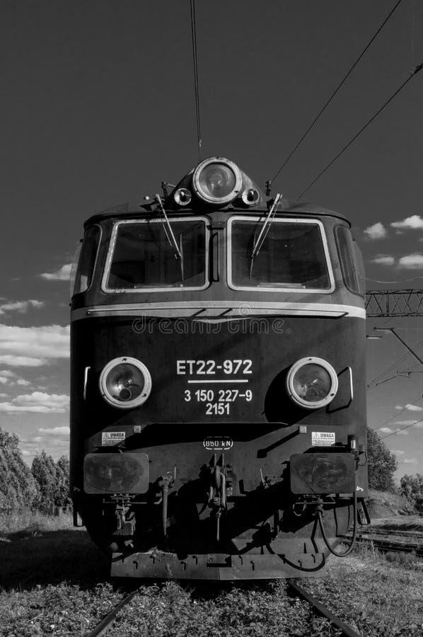 Motor locomotor convertido a blanco y negro foto de archivo libre de regalías
