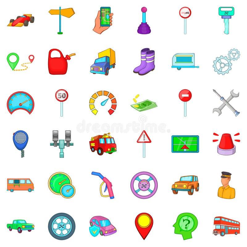 Motor lorry icons set, cartoon style. Motor lorry icons set. Cartoon set of 36 motor lorry vector icons for web isolated on white background stock illustration