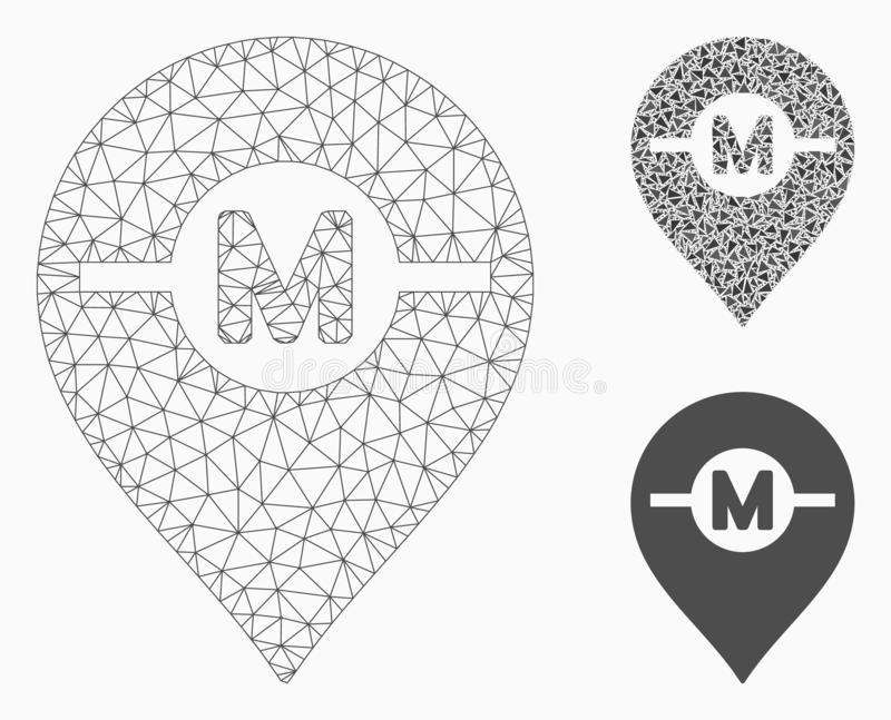 Motor Marker Vector Mesh Network Model and Triangle Mosaic Icon. Mesh motor marker model with triangle mosaic icon. Wire frame triangular network of motor marker vector illustration