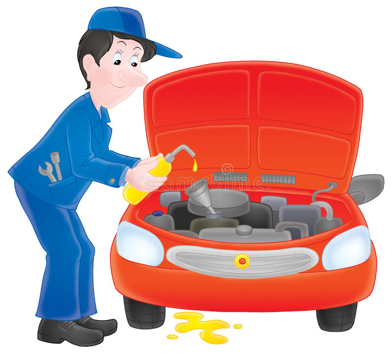 Motor mechanic. Isolated clipart illustration of a working motor mechanic stock illustration
