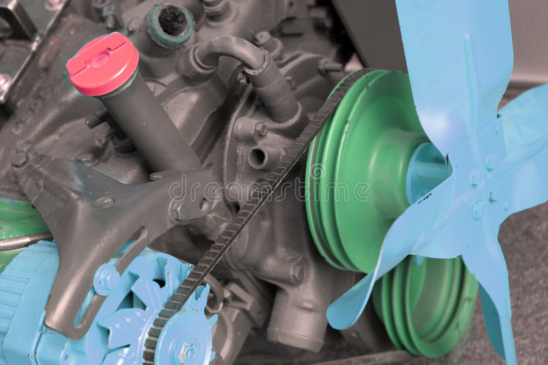 Motor met delen die voor demonstratie worden geschilderd royalty-vrije stock afbeelding