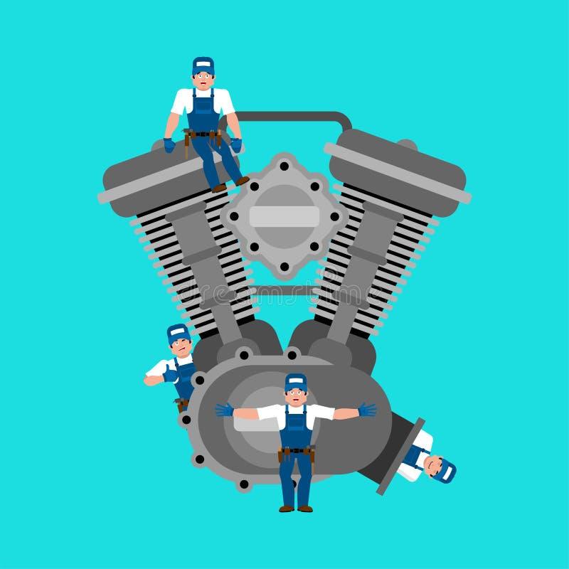 Motor och mekaniker Reparation och underhåll också vektor för coreldrawillustration vektor illustrationer