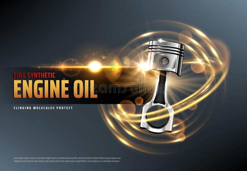Motor oil or lubricant with car engine piston. Car motor oil or auto engine synthetic lubricant 3d vector advertising banner with vehicle piston, sparkles and royalty free illustration