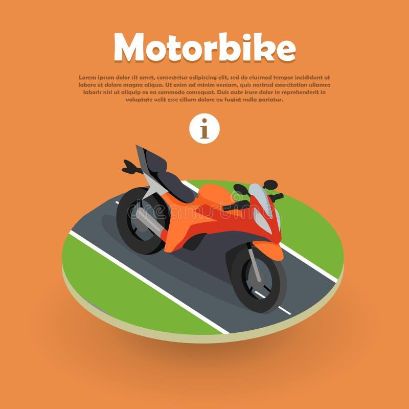 Motor op een Deel van Weg Motorfiets, Fiets, Cyclus royalty-vrije illustratie