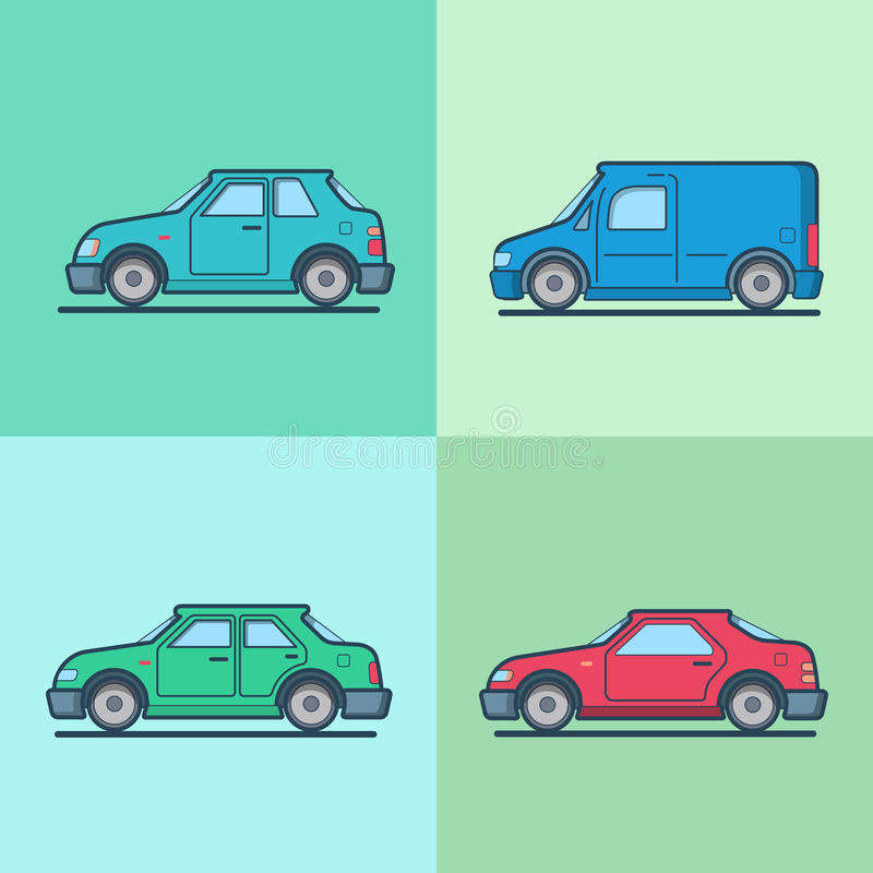 Motor passenger car van sportscar sedan hatchback royalty free illustration