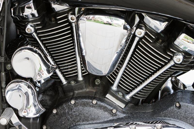 Motor poderoso cromado da motocicleta do motor imagem de stock