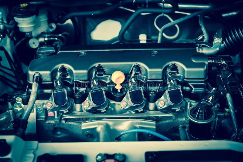 Motor poderoso de um carro Projeto interno do motor fotografia de stock