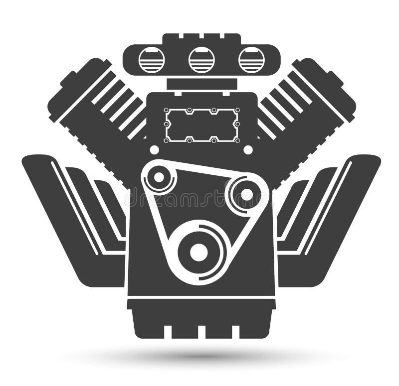 Motor potente del coche, símbolo negro stock de ilustración