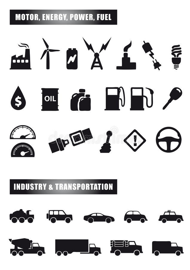 Motor and power icons royalty free illustration