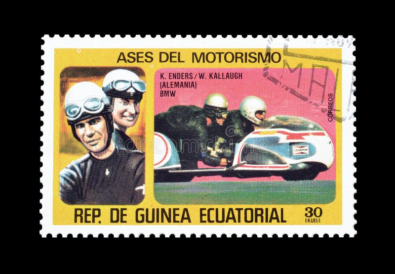 Motor racers on postage stamps. Cancelled postage stamp printed by Equatorial Guinea, that shows German motor cycle racers Enders and Kallaugh royalty free stock photography