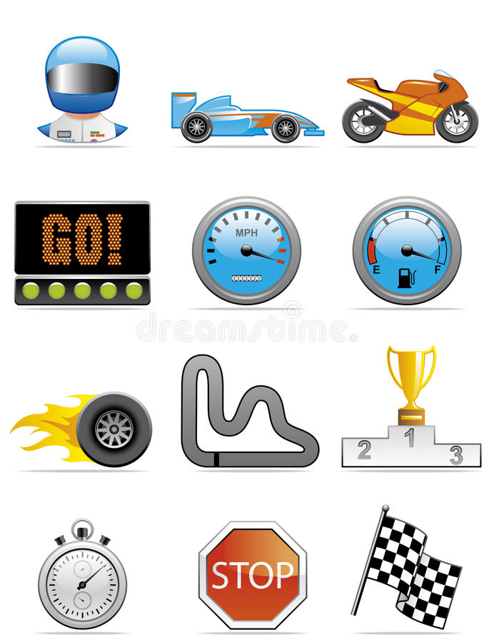 Download Motor racing icons stock vector. Image of motorcycle, pilot - 9683433