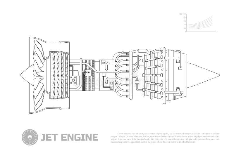 Motor a reacción de aviones Pieza del aeroplano Vista lateral Dibujo industrial de Aerospase Imagen del esquema ilustración del vector