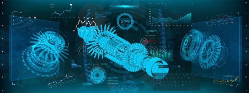 Motor a reacción del aeroplano en el estilo de HUD UI libre illustration